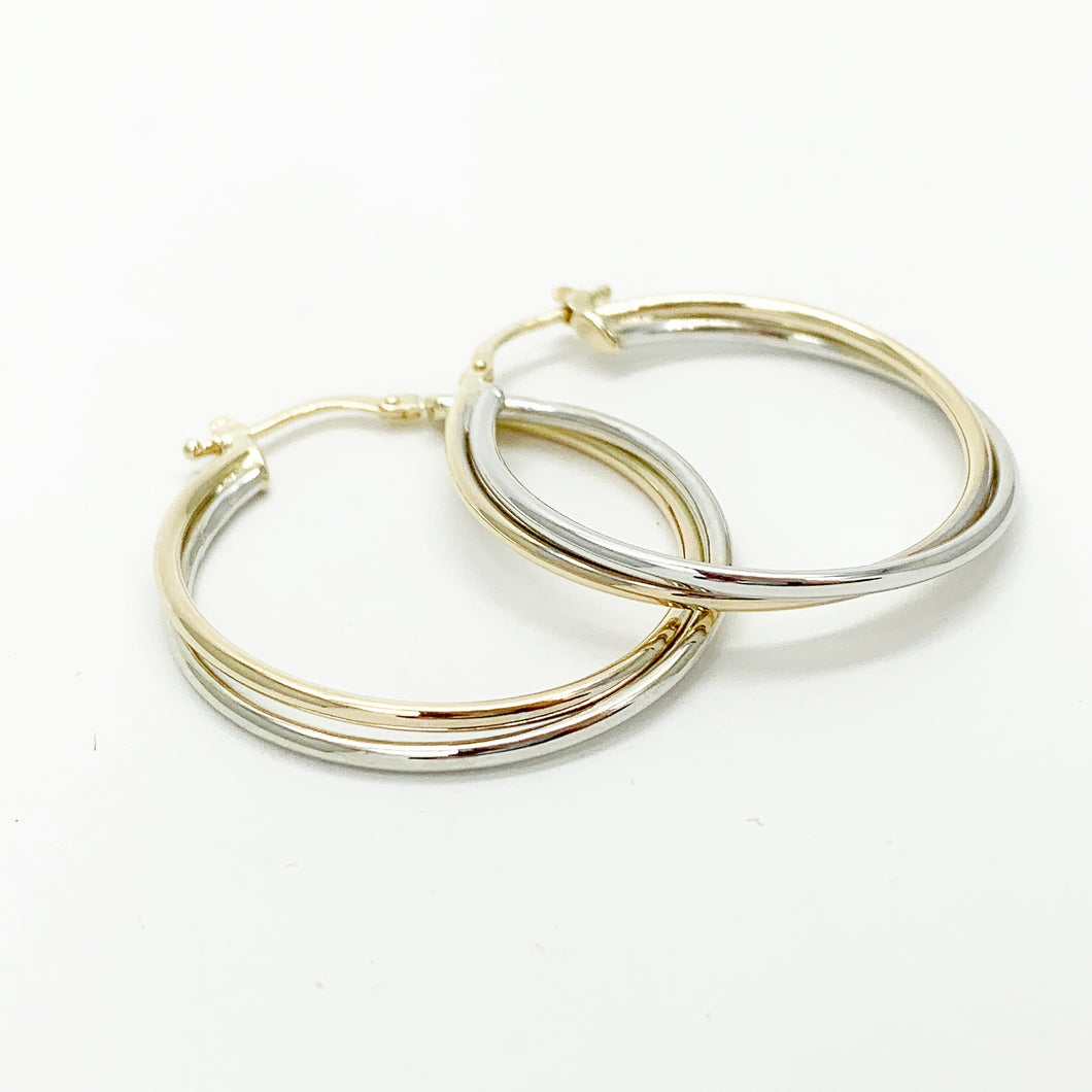 Yellow/White Gold Hoop Earrings