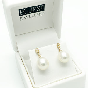 Yellow Gold Pearl and Diamond Stud Earrings