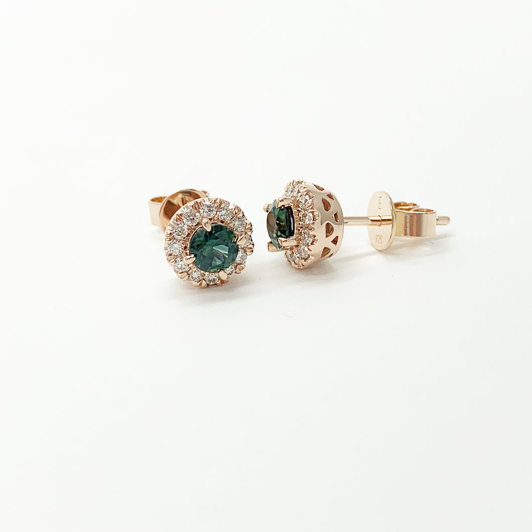 Rose Gold Sapphire & Diamond Stud Earrings