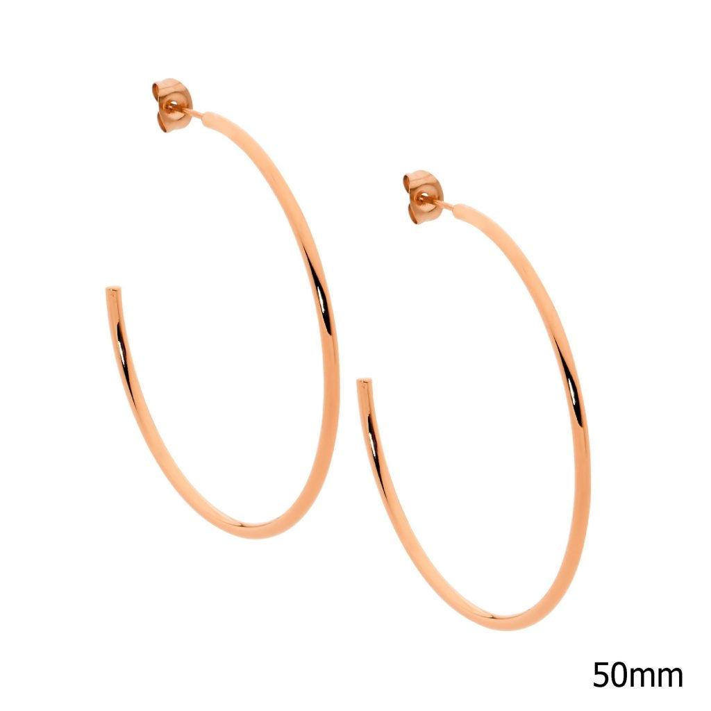 Ellani Stainless Steel/Rose Gold Plated 50mm Hoop Earrings