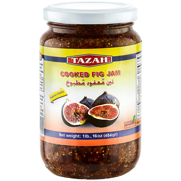 Tazah Cooked Fig Jam 16 Ounce (1 lb) - Mideast Grocers
