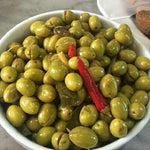 Tazah Green Cracked Olives with Pepper 3.75 Pound (1.7kg) - Mideast Grocers
