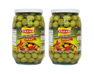 Tazah Green Cracked Olives with Pepper 3.75 Pound (1.7kg)