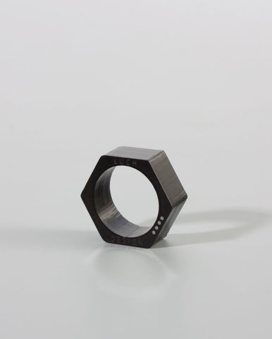 Hexagon Ring Black