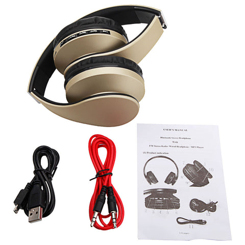 [Bluetooth Headset] HY-811 Foldable FM Stereo MP3 Player Wired Champagne Wireless Headphones Black & Red/Champagne/Black/Black & Blue