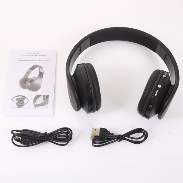 NX-8252 Hot Foldable Wireless Stereo Sports Bluetooth Headphone Headset with Mic for iPhone/iPad/PC Black/Blue & White
