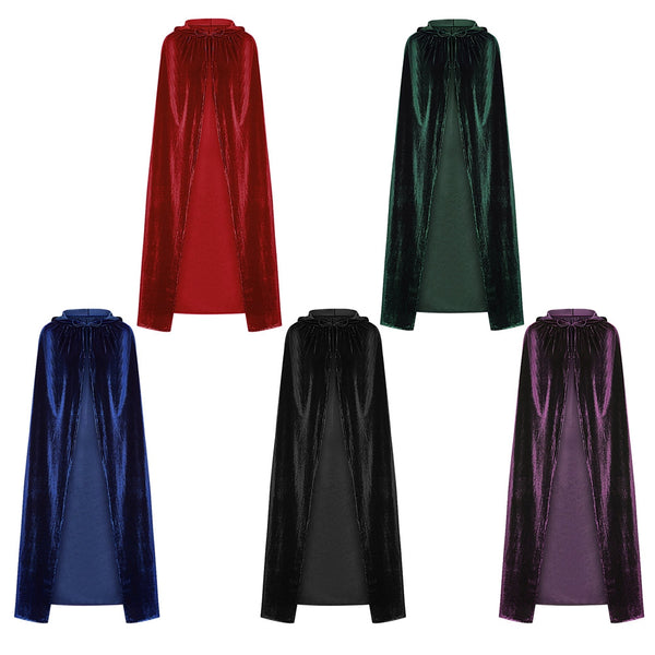 Hooded Collar Cloak Halloween Costume Solid Color Velour Cape