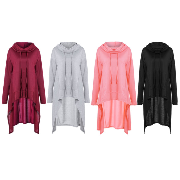 Women Long Sleeve Pile Collar Casual Top Blouse with Hoodie