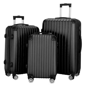 "Luggage 3 Piece Set Suitcases Spinner Hardshell Lightweight TSA Lock Black/Blue/Gray 20"" / 24"" / 28"""