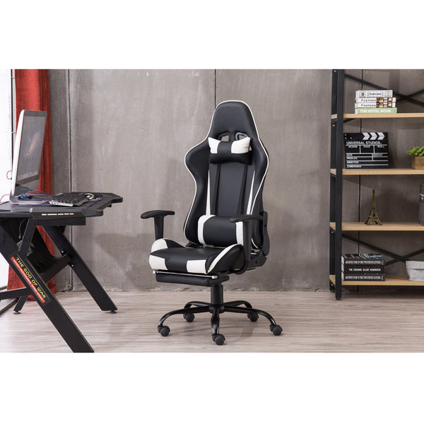 High Back Swivel Chair Racing Gaming Chair Office Chair with Footrest Tier Black & Blue