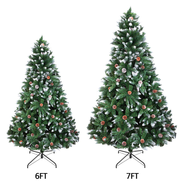 [Christmas Tree]  Christmas Tree 6FT 920 Branches Flocking Spray White Tree Plus Pine Cone (YJ) US Warehouse Free Shipping