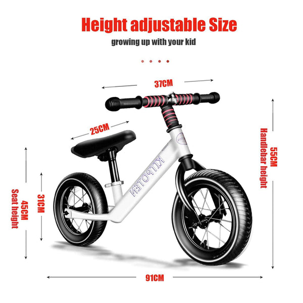 Cool Kids Bikes 12 inch High Carbon Galvanized Balance Bike No Pedal Bike for Boys and Girls Aged 4-9 White Us Warehouse Free Shipping