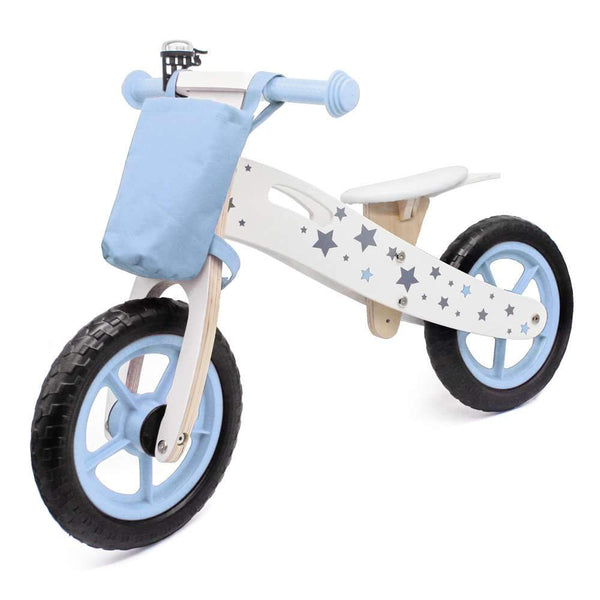 Kids Bikes Scooters Star Pattern Wooden Children Balance Bike With Bag & Bell (Blue) Free Shipping Us Warehouse