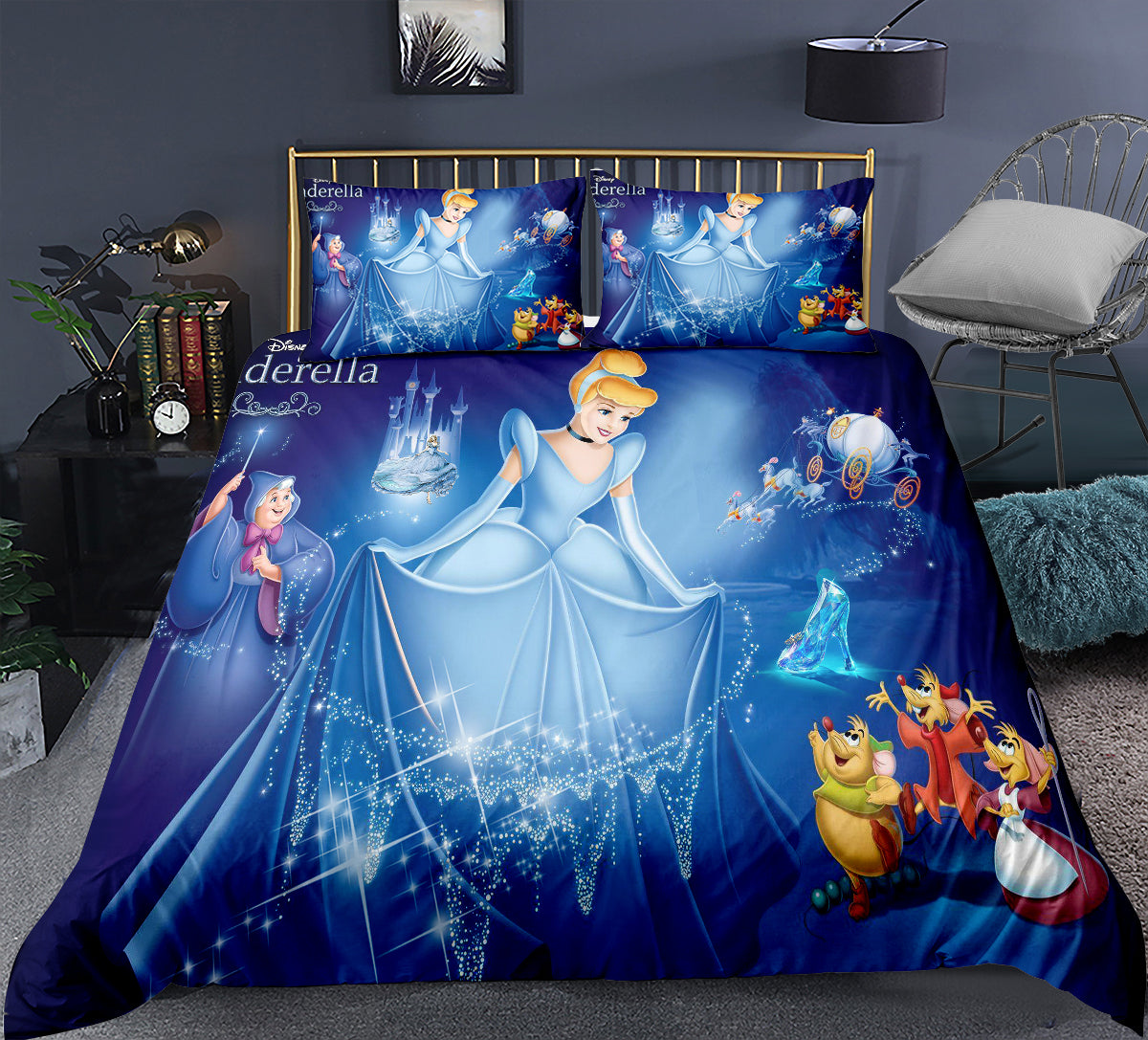 2021 New Cheap Bedding Sets Cinderella 3D Printed 3PCS Duvet Cover Sets Cotton Blend Comforter Cover Sets Twin&Full&Queen&King&California King 4 Colors Blue