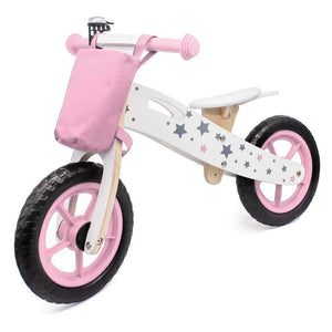 Best Kids Bikes Scooters Star Pattern Wooden Children Balance Bike With Bag & Bell Pink Us Warehouse Free Shipping
