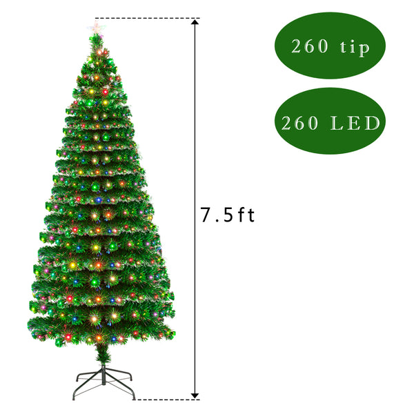 7.5FT Indoor Outdoor Christmas Holiday Decoration Fiber Optic Christmas Tree with 260 Branches & 260 LED Lamps US Warehouse Free Shipping