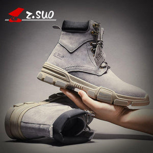 Free Shipping Plus velvet leather autumn and winter Martin boots mens trendy wild British desert short boots medium high top men shoes tooling boots