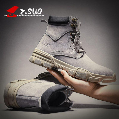 Plus velvet leather autumn and winter Martin boots mens trendy wild British desert short boots medium high top men shoes tooling boots