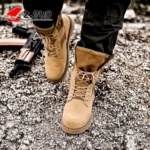 Genuine Leather Men Military Boots Quality Special Tactical Desert Combat Ankle Boats Army Work Shoes Real Leather Snow Boots