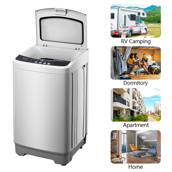 Best Full-Automatic Washing Machine Portable Compact Laundry Washer Spin with Drain Pump,10 programs 8 Water Level Selections with LED Display 13.3 Lbs Capacity, Gray Sale