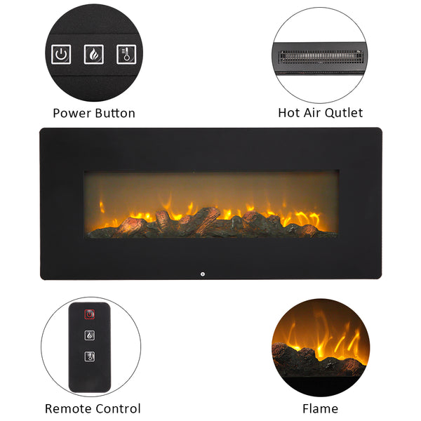 2020 New SF310-42AX 42 Inch 1400W Wall Hanging / Fireplace Single Color / Fake Wood / Heating Wire / With Small Remote Control Black