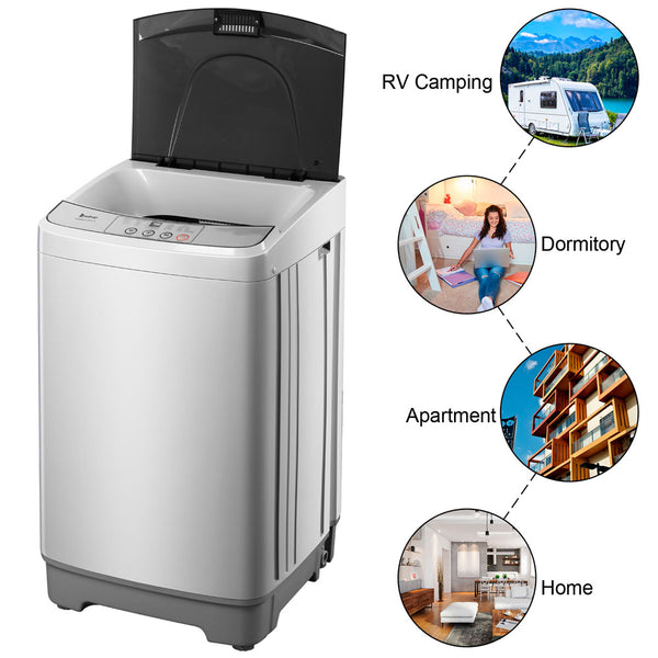Full-Automatic Washing Machine Portable Compact Laundry Washer Spin with Drain Pump,10 programs 8 Water Level Selections with LED Display 13.3 Lbs Capacity, Gray