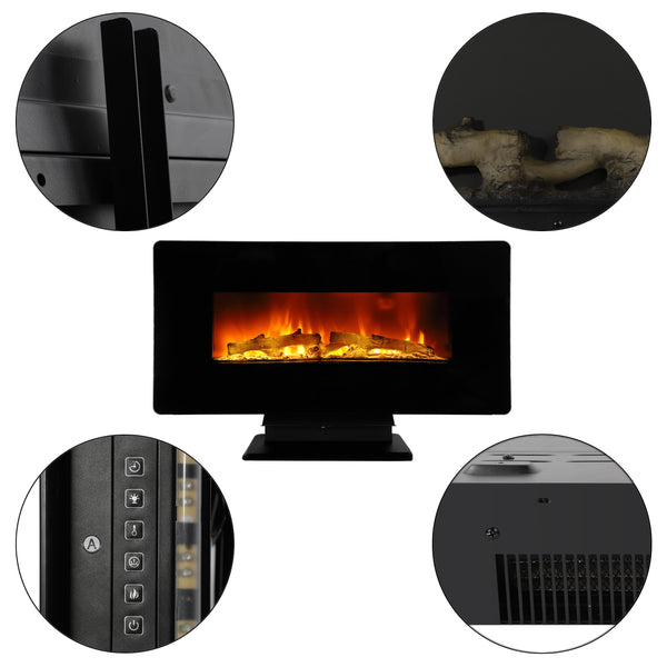 Free Shipping SF310-36A 36 inch 1400W Wall Hanging / Fireplace Colorful / Fake Wood / Heating Wire / with Small Remote Control Electronic / Black