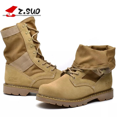 2020 New Z.Suo Desert Military Boots Motorcycle Boots Men'S Boots Lace-Up Martin Boots Trend Autumn And Winter Large Size Tooling Men'S Shoes Outdoor Shoes Boots For Women