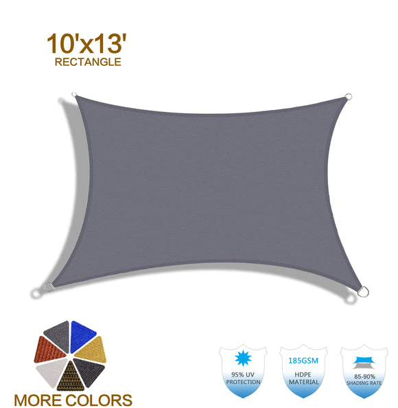 HENG FENG 10'x13' Charcoal Rectangle Sun Shade Sail UV Block for Patio Deck Yard and Outdoor