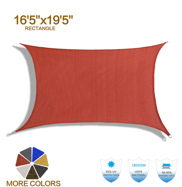HENG FENG 16'5''x19'5'' Terra Rectangle Sun Shade Sail UV Block for Patio Deck Yard and Outdoor