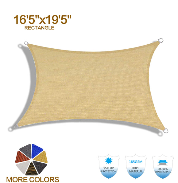 HENG FENG 16'5''x19'5'' Sand Rectangle Sun Shade Sail UV Block for Patio Deck Yard and Outdoor