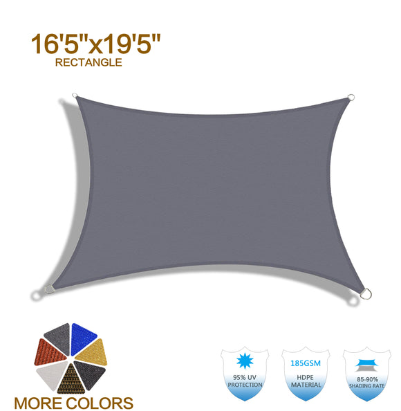 HENG FENG 16'5''x19'5'' Charcoal Rectangle Sun Shade Sail UV Block for Patio Deck Yard and Outdoor