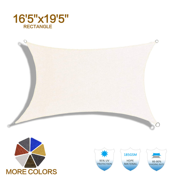 HENG FENG 16'5''x19'5'' Cream Rectangle Sun Shade Sail UV Block for Patio Deck Yard and Outdoor