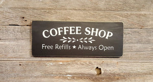 Rustic Coffee Shop Wood Sign