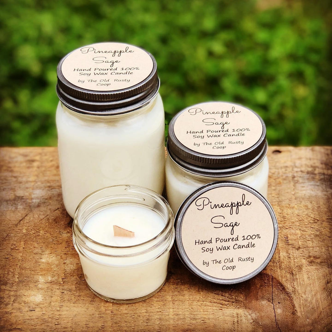 Pineapple Sage ~ Hand Poured 100% Soy Wax Wooden Wick Candles