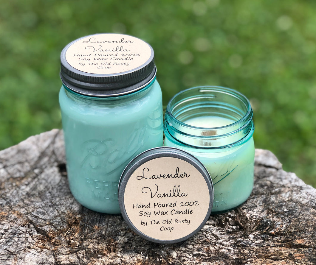 Lavender Vanilla Vintage Inspired Jar ~ Hand Poured 100% Soy Wax Wooden Wick Candle