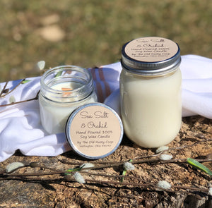 Sea Salt & Orchid ~ Hand Poured 100% Soy Wax Wooden Wick Candle