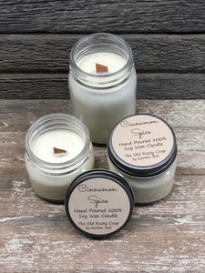 Cinnamon Spice ~ Hand Poured 100% Soy Wax Wooden Wick Candles