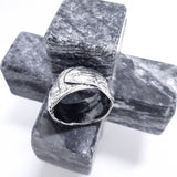 Oxidised Fine silver handmade ring. Gem Division contemporary jewellery, organic style, one off