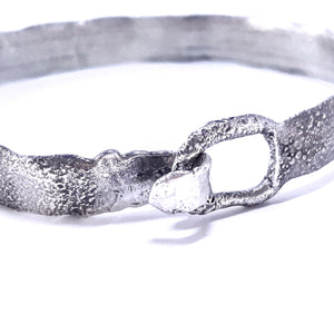 Reticulated sterling silver handmade bracelet. Gem division contemporary jewellery, organic style, one off, brutalist