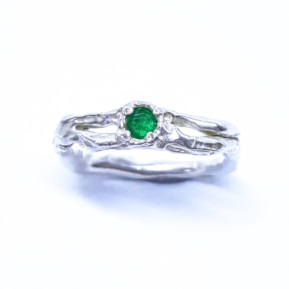 Natural emerald and sterling silver ring. Gem Division contemporary jewellery, organic style, one off