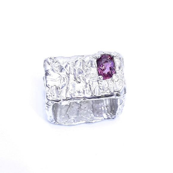 Rhodolite and sterling silver handmade square ring. Gem division contemporary jewellery, organic style, one off