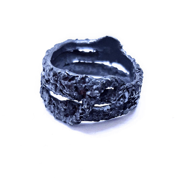 Oxidised textured sterling silver handmade ring. Gem division contemporary jewellery, organic style, one off, brutalist