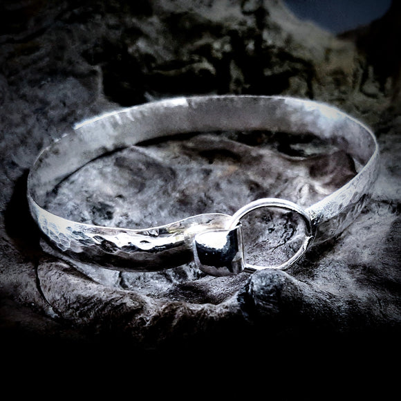 Sterling silver hand made wide hammered bracelet . Gem division contemporary jewellery, organic style, one off, brutalist