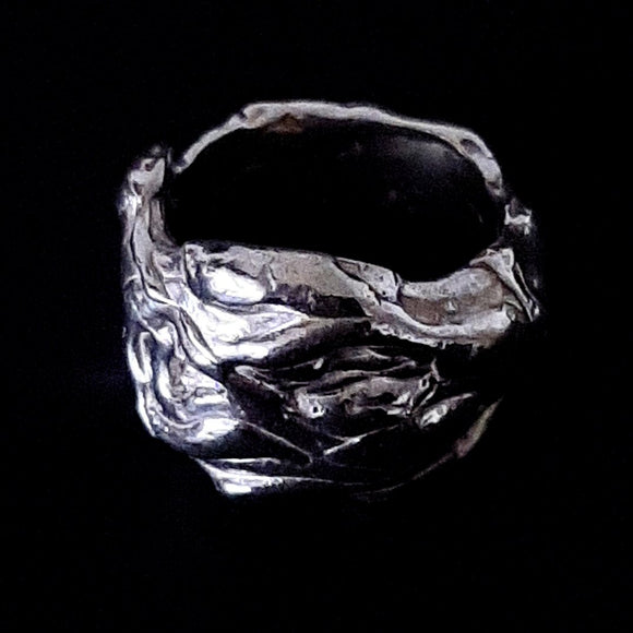 Sterling silver handmade ring. Gem division contemporary jewellery, organic style, one off, brutalist