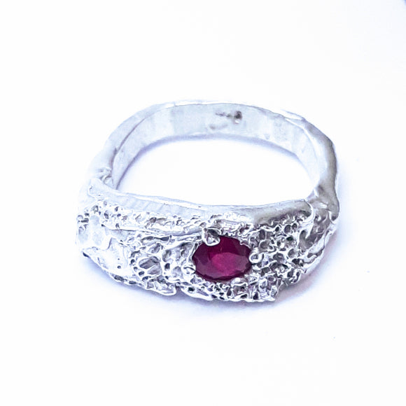 Ruby and sterling silver. Gem division jewellery contemporary, handmade, unique, oneoff, organic,art jewelry
