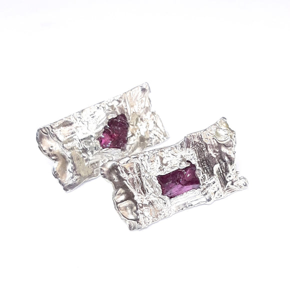 Rhodolite Rough Textured Studs, contemporary jewellery,  gem Division,  new Zealand made jewellery