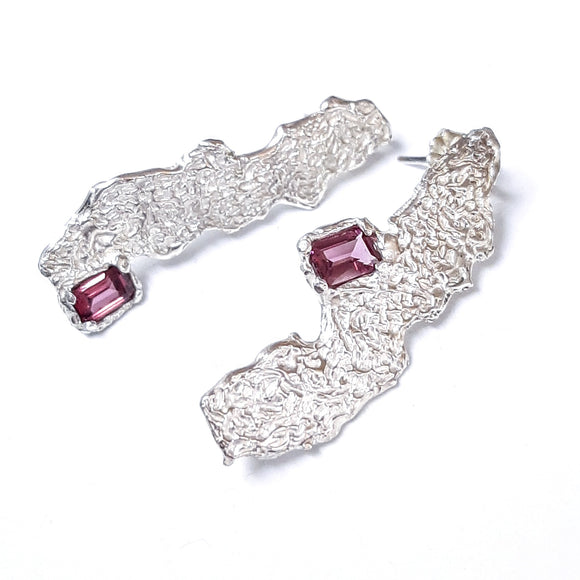 Rectangle Rhodolite and Textured Sterling Earrings