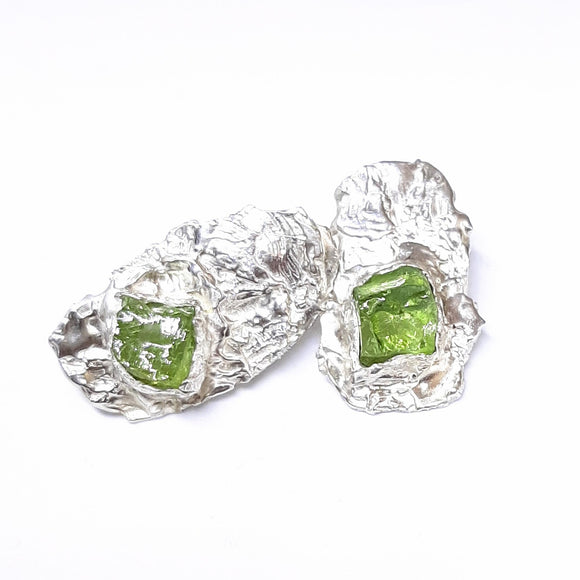Peridot and Sterling Stud Earrings  Gem Division jewellery. contemporary jewellery,  New Zealand