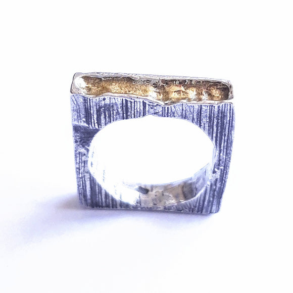 Fine Silver and 22ct Gold Square Ring
